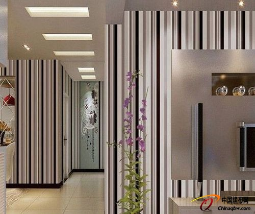 现代时尚简约风格的竖条纹家装壁纸效果图:黑白线条