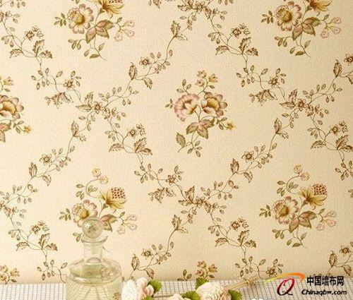 卧室墙纸颜色搭配:现代中式淡雅竖条纹墙壁纸图片