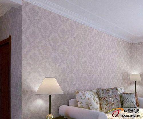 装修墙纸效果图:卧室满铺简欧风格,电视沙发背景,现代简约风格壁纸.