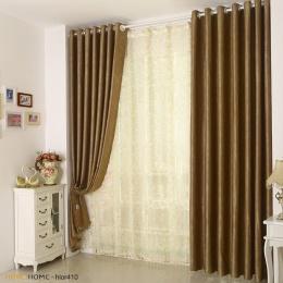 欧式现代卧室客厅全遮光纯色落地窗帘定制绒布压花窗帘成品包邮