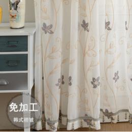 现代简约棉麻绣花窗纱客厅卧室订制窗帘纱飘窗阳台遮阳窗纱成品