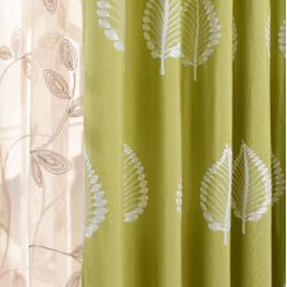 美式简约现代田园亚麻绣花窗帘布料客厅卧室定制窗帘成品