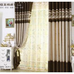 高档欧式加厚棉麻拼接窗帘布料客厅卧室定制窗帘成品