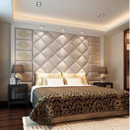 软包硬包背景墙绣花皮革异形客厅卧室床头沙发背景墙镜花水月