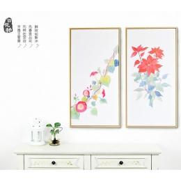 新中式荷花装饰画床头画客厅三联画卧室挂画餐厅玄关壁画竖版无框