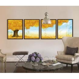 发财树装饰画黄金满地壁画现代中式客厅画沙发背景墙画办公室挂画