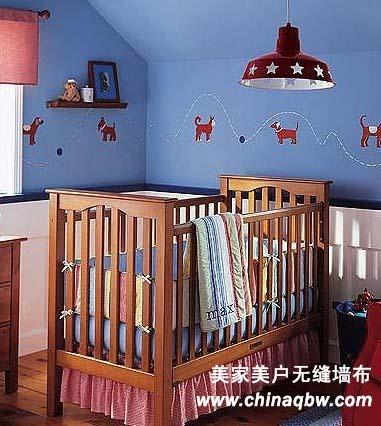 蓝色欧式墙布装修效果图