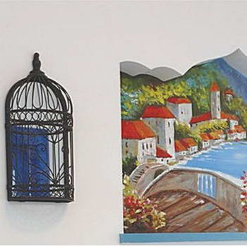 餐桌墙壁上的手绘图,从造型到画面