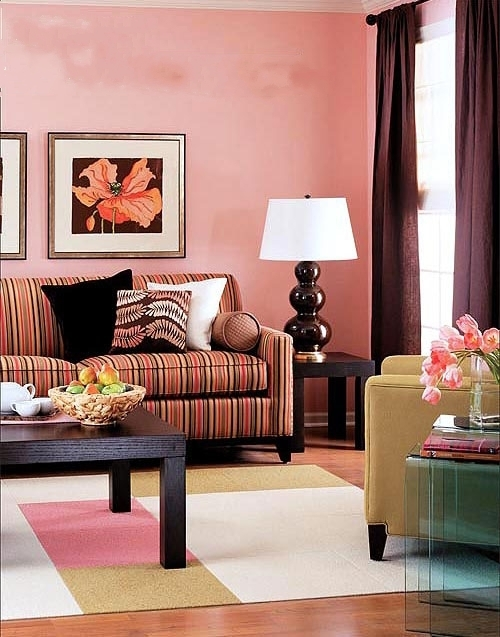 粉色墙布配窗帘效果图