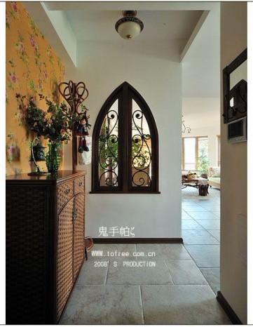 新中式玄关壁布效果图